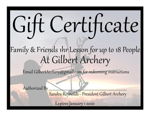 Gilbert Archery Party Certificate
